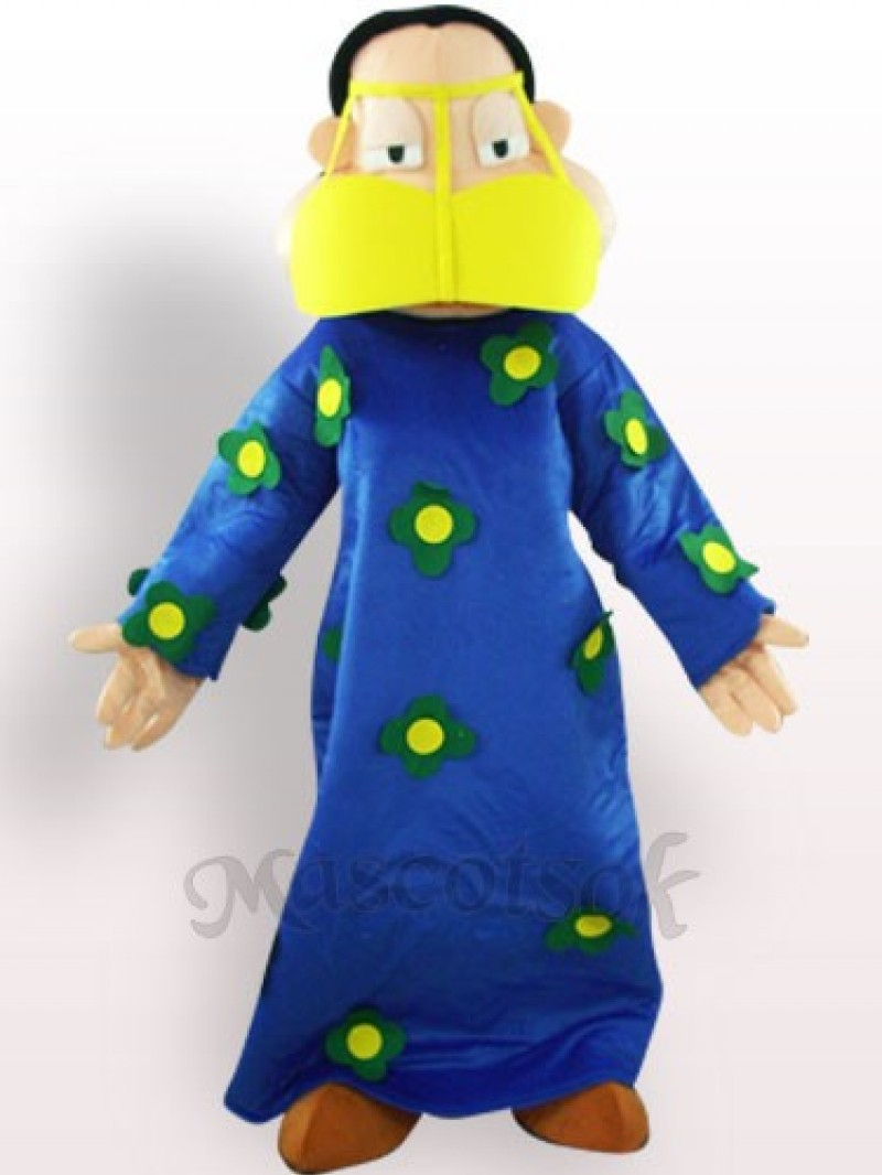 Fat Woman In Blue Clothes Plush Adult Mascot Costume
