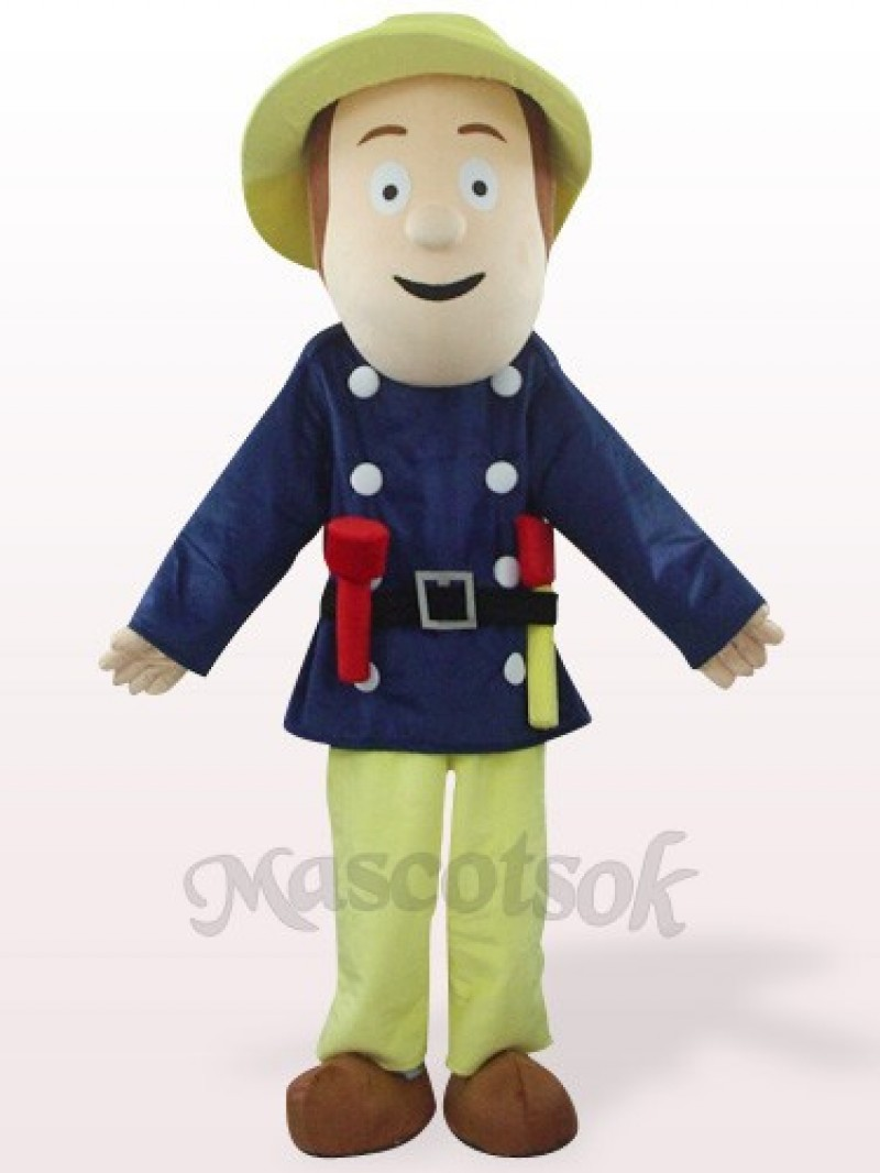 Fireman In Blue Clothes Plush Mascot Costume