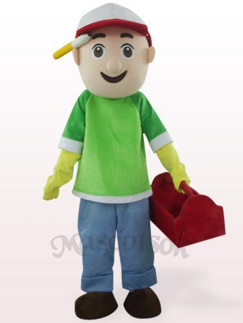 Green And Blue Vendor Boy Plush Mascot Costume