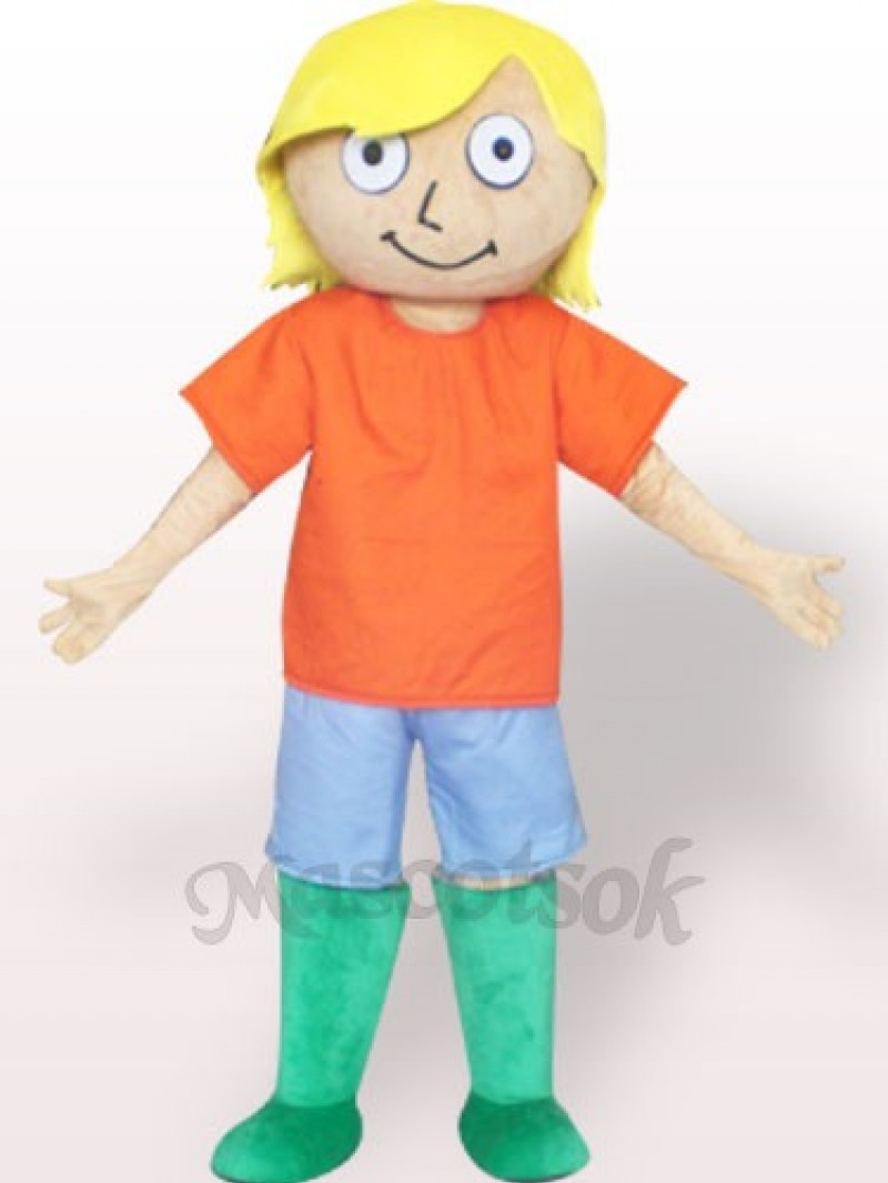 Green Boots Boy Plush Adult Mascot Costume