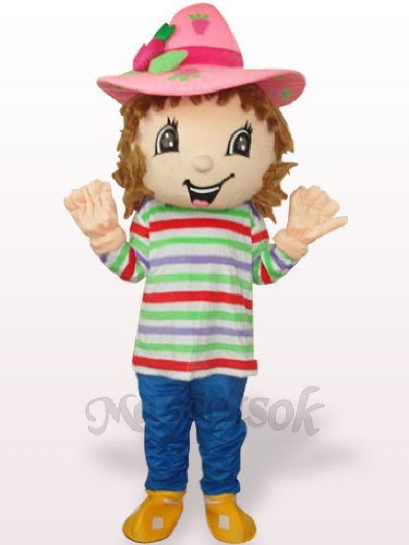 Lovely Colorful Strawberry Shortcake Girl Plush Adult Mascot Costume