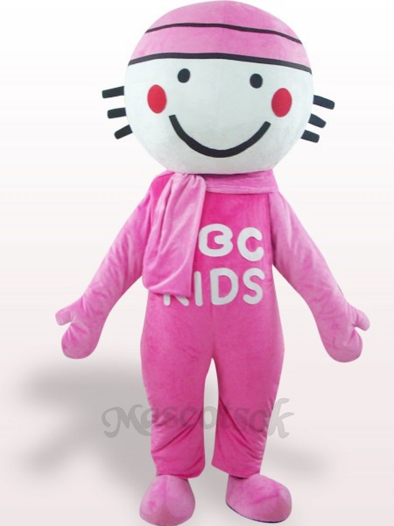Pink Round Head Doll Plush Adult Mascot Costume