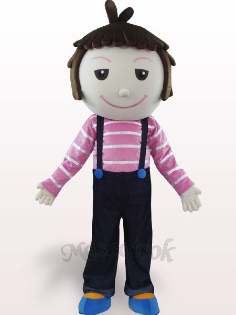Solid Hair Boy Plush Adult Mascot Costume