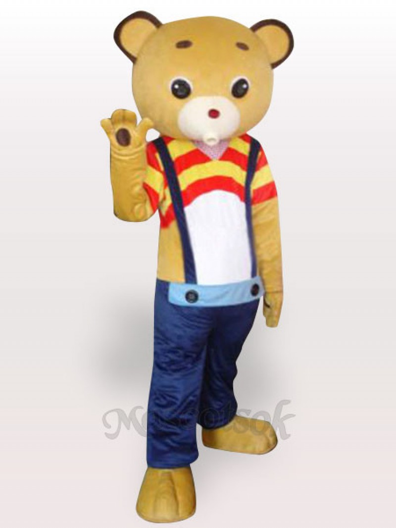 Strap Yellow Bear Short Plush Adult Mascot Costume