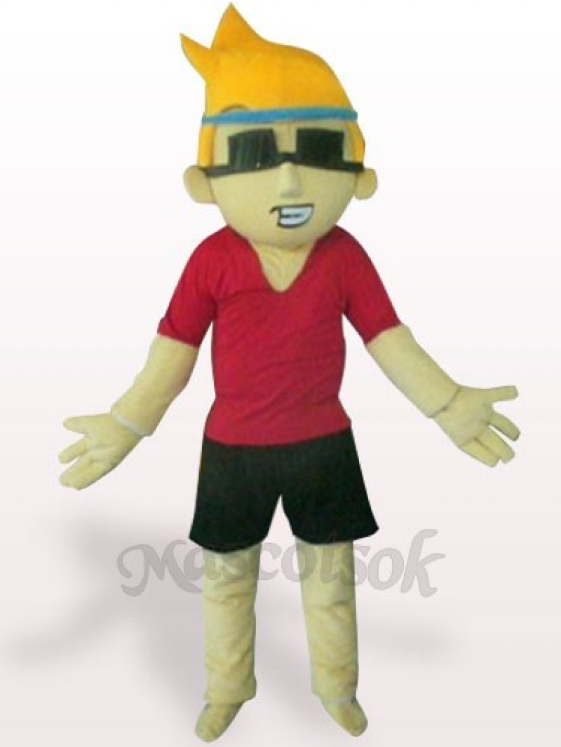 Sunglasses Boy Plush Adult Mascot Costume