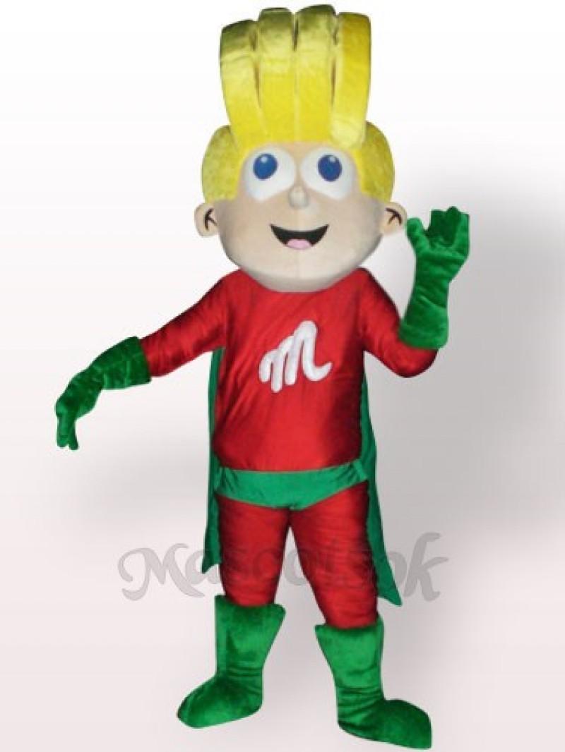 Super Boy Plush Adult Mascot Costume