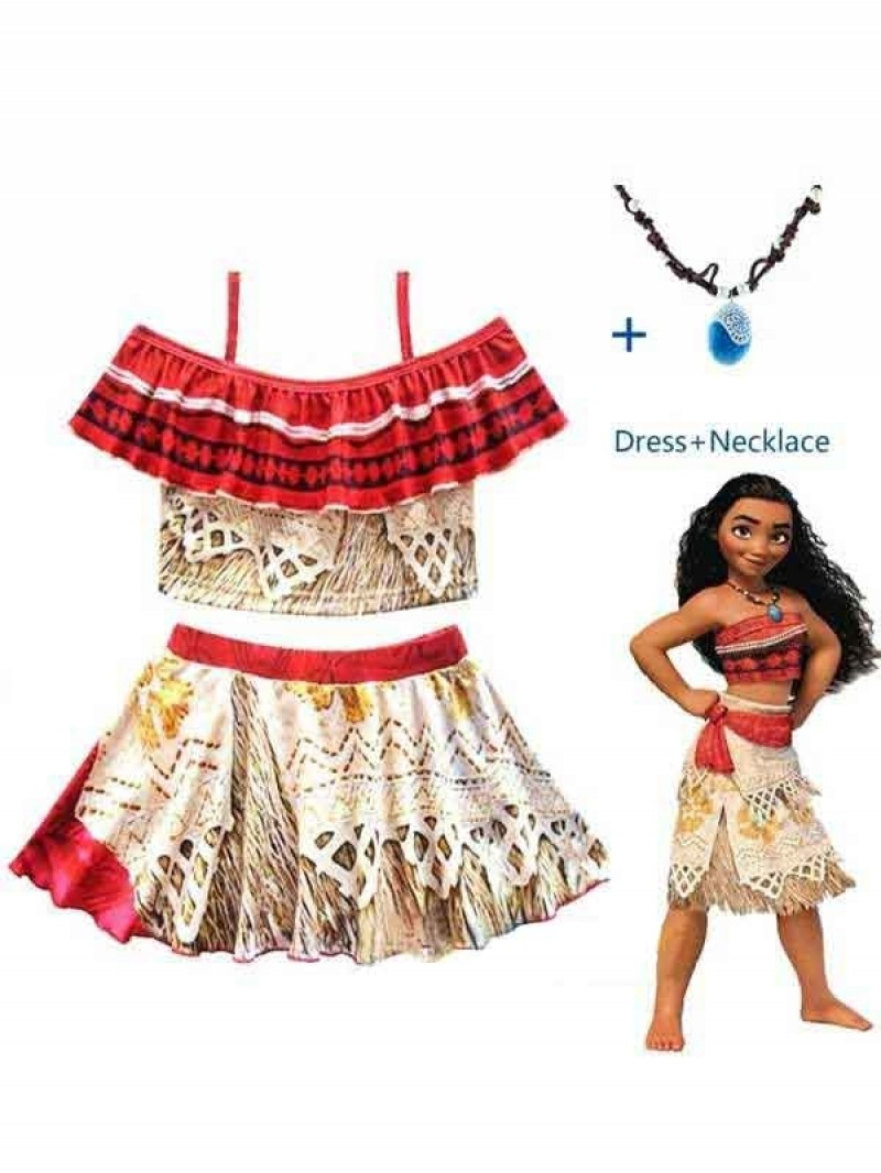 Kids Costume Moana Princess Girls Cosplay Fancy Dress Necklace Clothes Set US