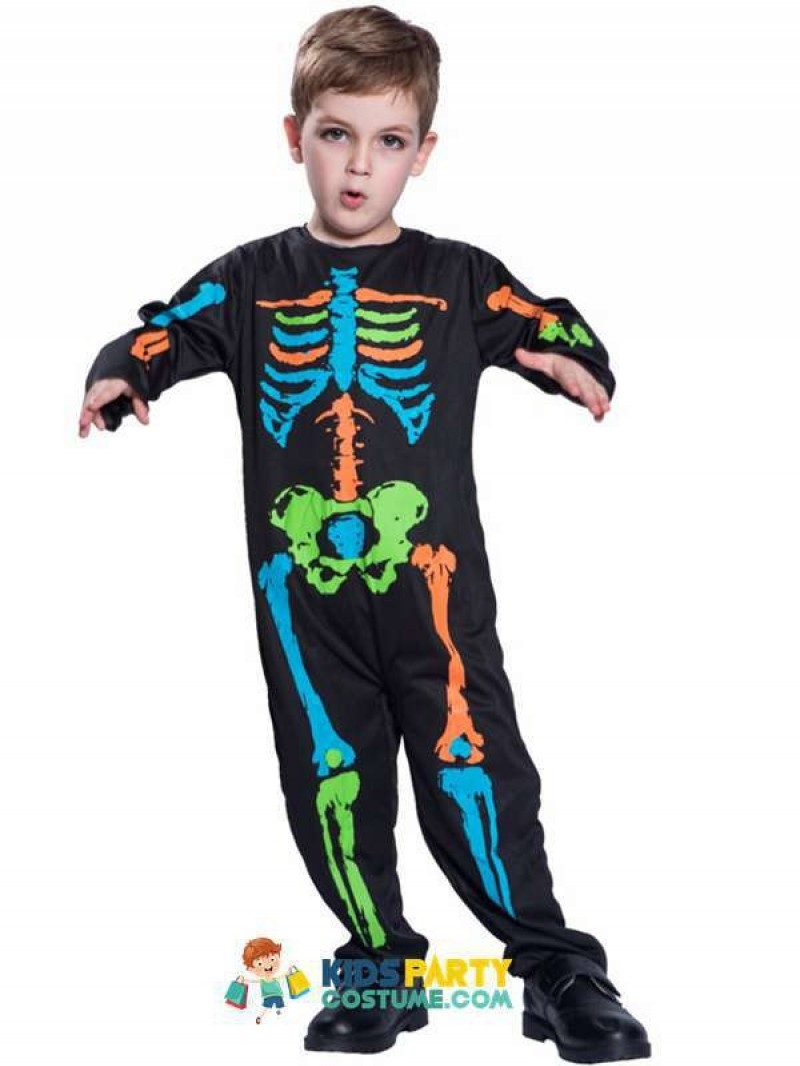 Carnival Anime Costume Halloween For Kids Scary Boy Skeleton Costume Black Pyjama Jumpsuit  Cosplay