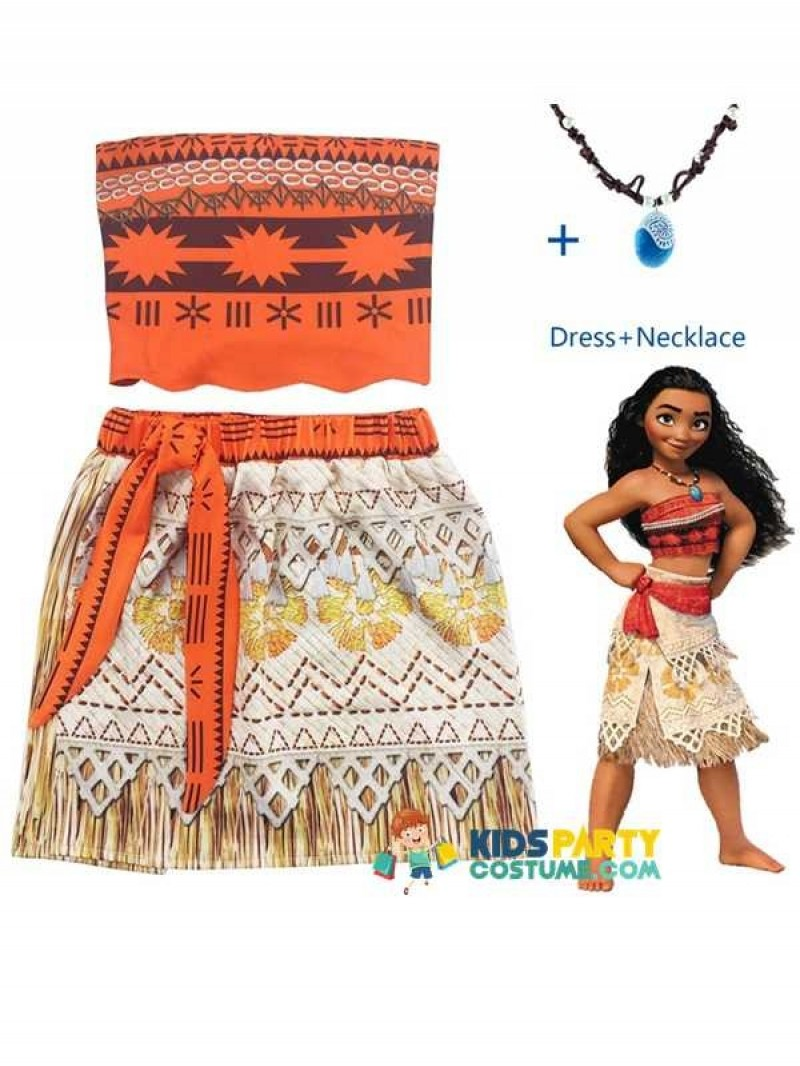 Princess Moana Costume for kids Vaiana dress Costume cosplay with Necklace for Halloween Costumes