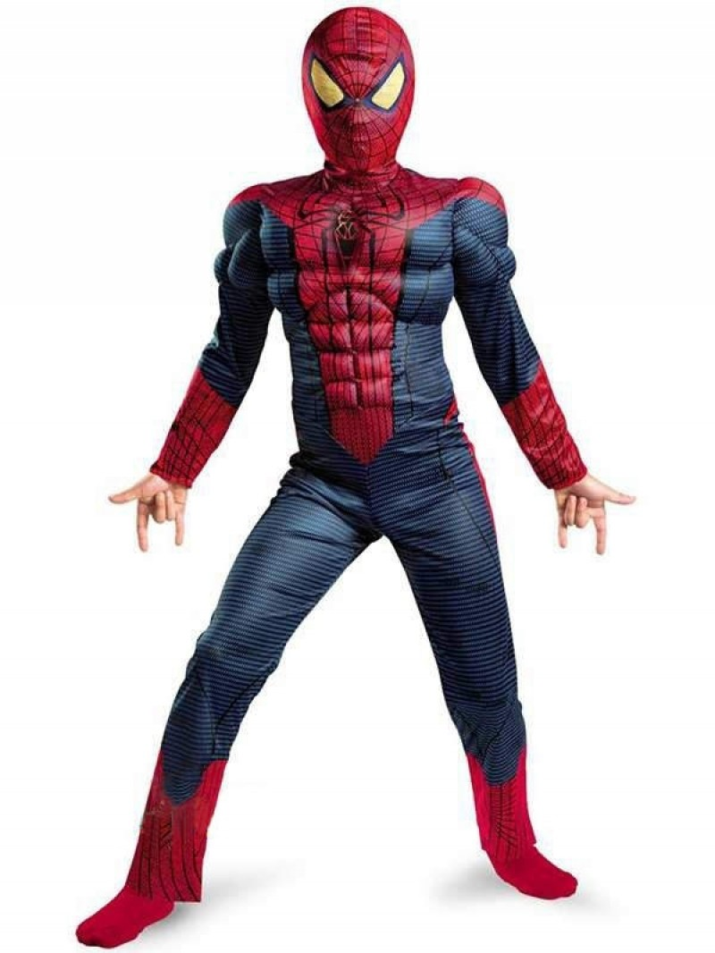 Boy Amazing Spiderman Movie Character Classic Muscle Marvel Fantasy Superhero Halloween Carnival Party Costume