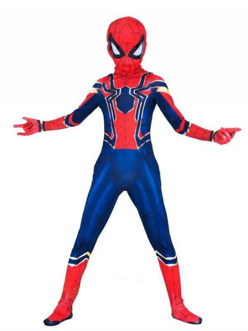Boys Lycra Spandex Iron Spiderman Avengers Infinity War Spider-Man Jumpsuit Halloween Party Cosplay Costume