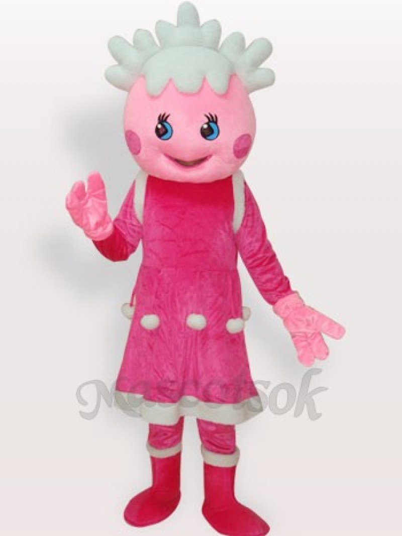 Pink Princess Short Plush Adult Mascot Costume