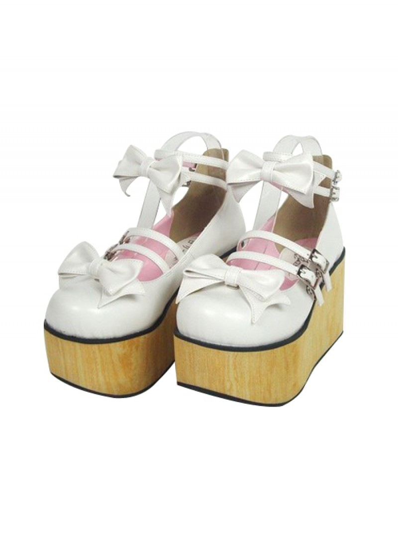 "White 3.7"" Heel High Classic PU Round Toe Bow Decoration Platform Lady Lolita Shoes"