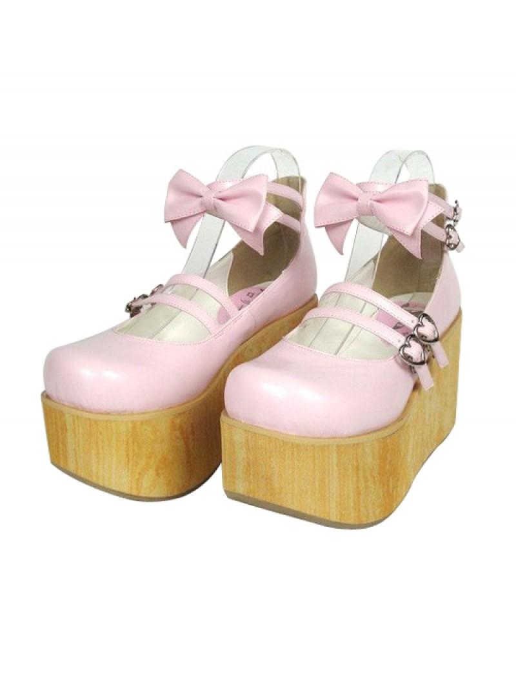 "Pink 3.7"" Heel High Stylish Patent Leather Round Toe Bow Decoration Platform Lady Lolita Shoes"