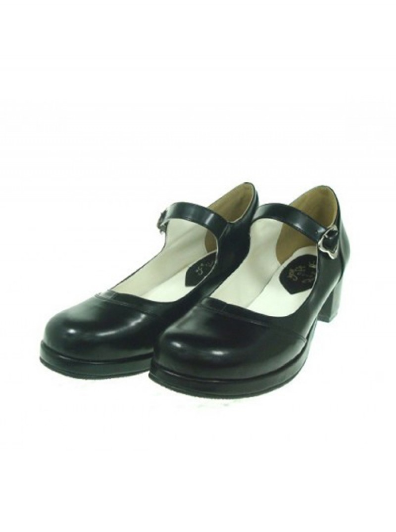 """Black 1.8"""" Heel High Adorable Synthetic Leather Point Toe Cross Straps Platform Women Lolita Shoes"""