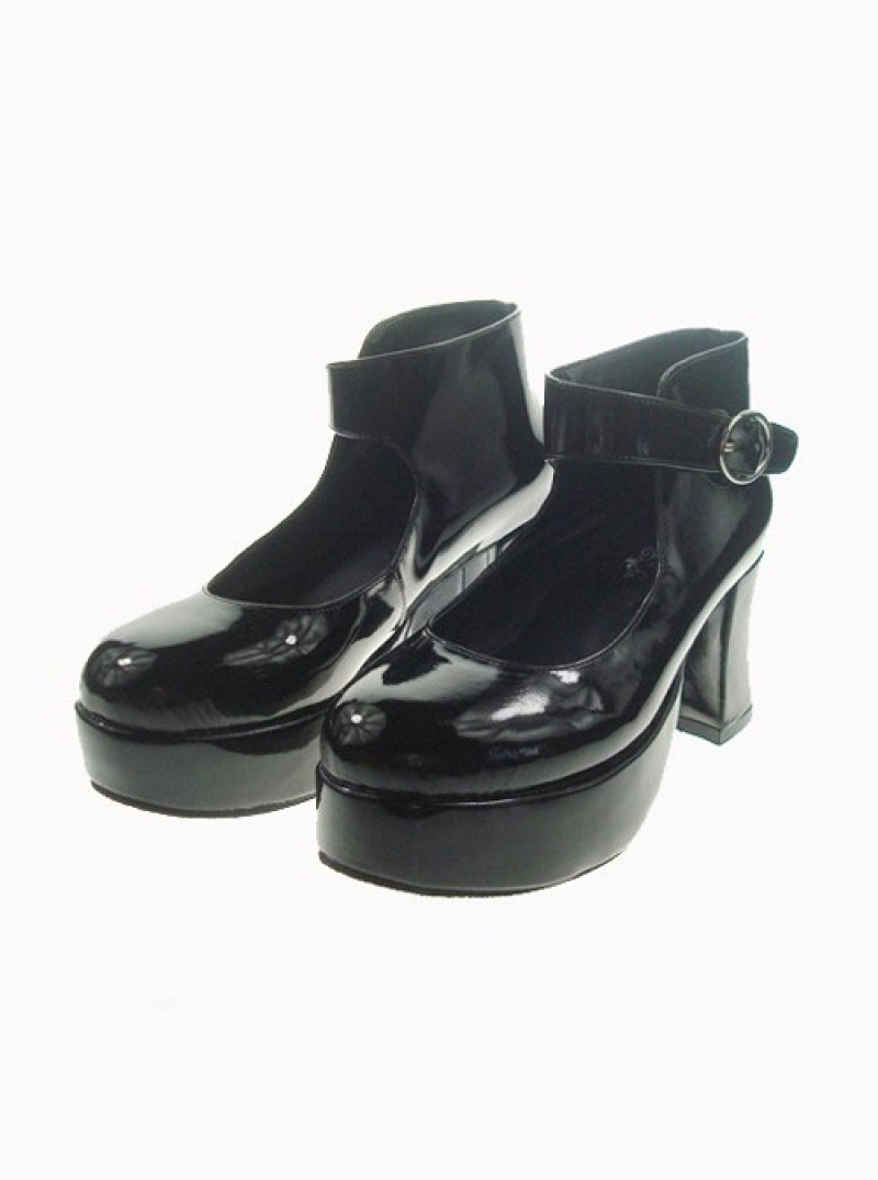 "Black 2.9"" Heel High Lovely Patent Leather Point Toe Ankle Straps Platform Women Lolita Shoes"