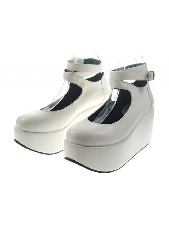 """White 3.1"""" Heel High Gorgeous Polyurethane Point Toe Ankle Straps Platform Women Lolita Shoes"""