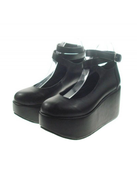 "Black 3.1"" Heel High Cute Patent Leather Point Toe Ankle Straps Platform Women Lolita Shoes"
