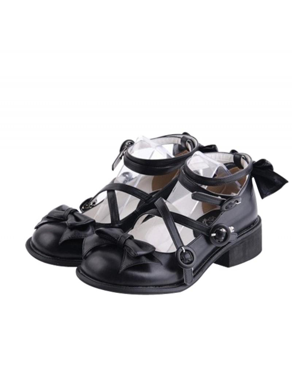 "Black 1.4"" Heel High Beautiful Suede Point Toe Ankle Straps Platform Women Lolita Shoes"
