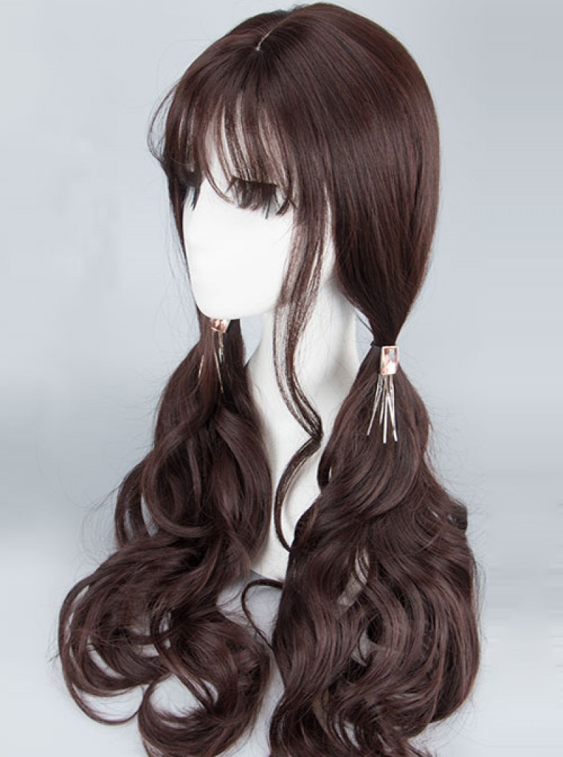 Gentle Air-bangs Long Curly Hair Dark Brown Lolita Wig