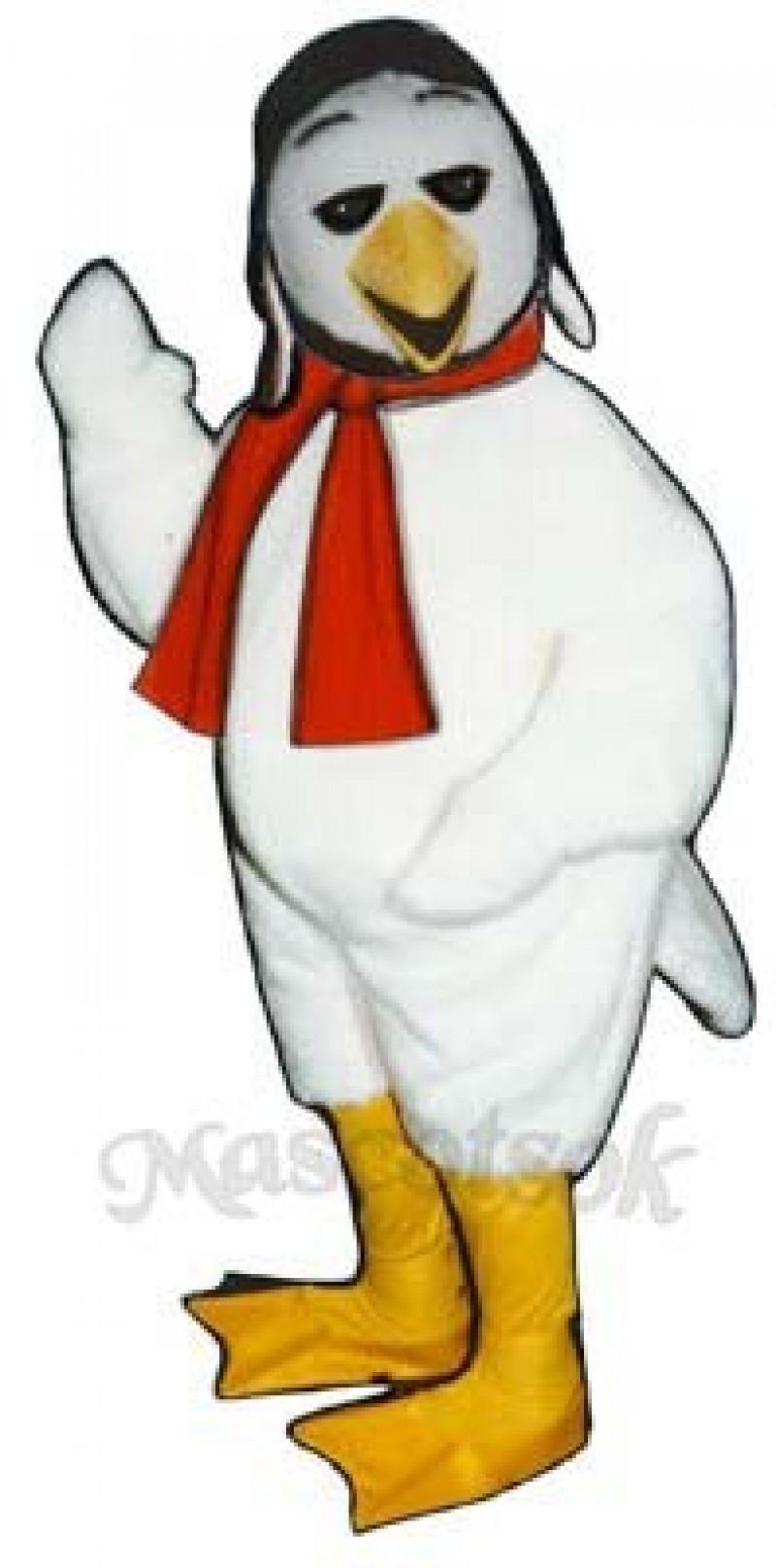 Cute Ace Bird with Aviator Hat & Scarf Mascot Costume
