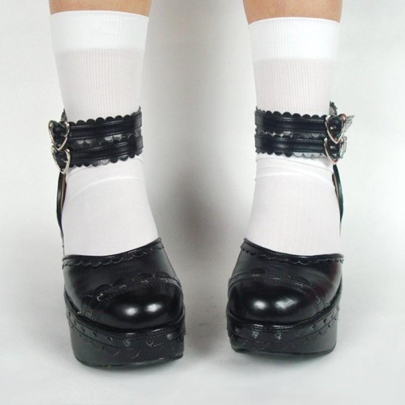 "Black 3.1"" Heel High Stylish Suede Round Toe Ankle Straps Platform Girls Lolita Shoes"