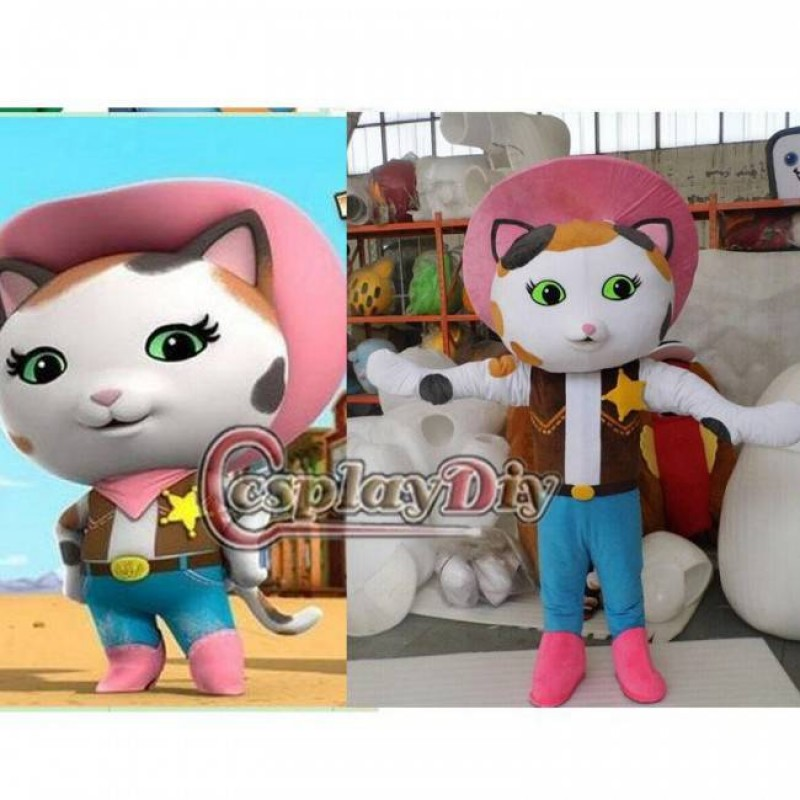 Hot Sale! Sheriff Callie Cat Mascot Costume Adult Size Musical Comedy Series Sheriff Callie's Wild West Cosplay