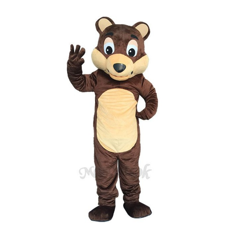 New Chocolate Bear White Belly Mascot Costume