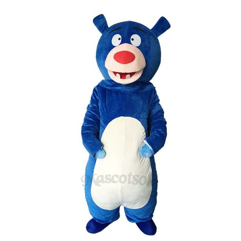 Lovely Blue Bear Short Plush Adult Mascot Costume