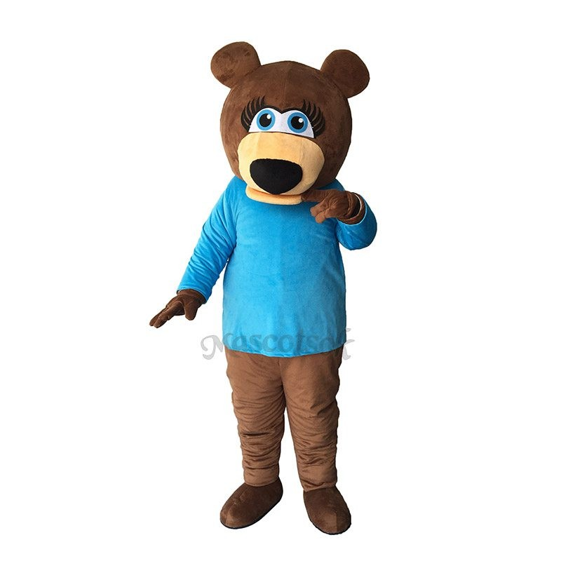 Funny Ms.Bear in Blue T-shirt Mascot Adult Costume