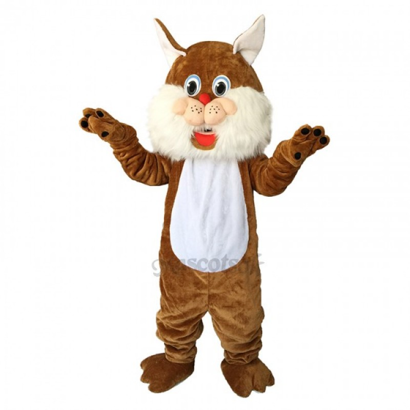 Brown Wirey Wildcat Mascot Costume