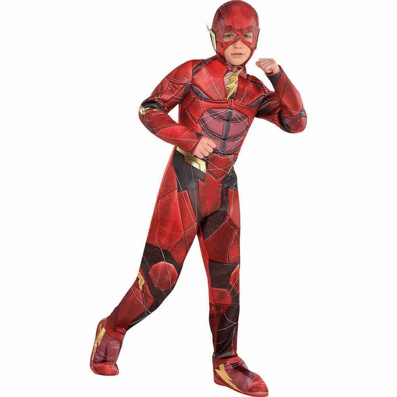 Deluxe child Justice League The Flash Kids Superhero Muscle Movie Character Halloween Party Cosplay Costume
