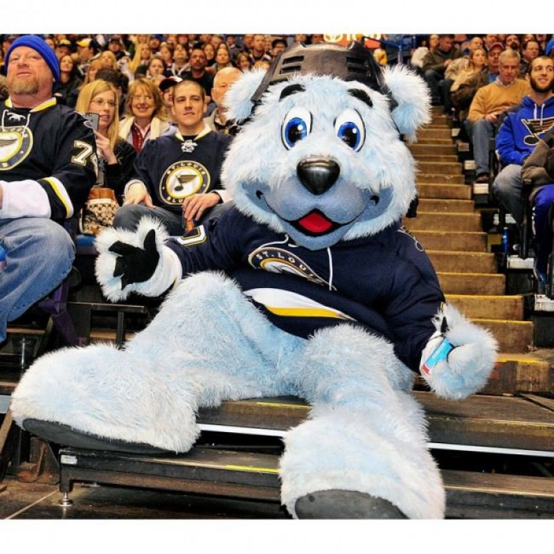 Louie Blue Furred Polar Bear Of The St Louis Blues Mascot Costume