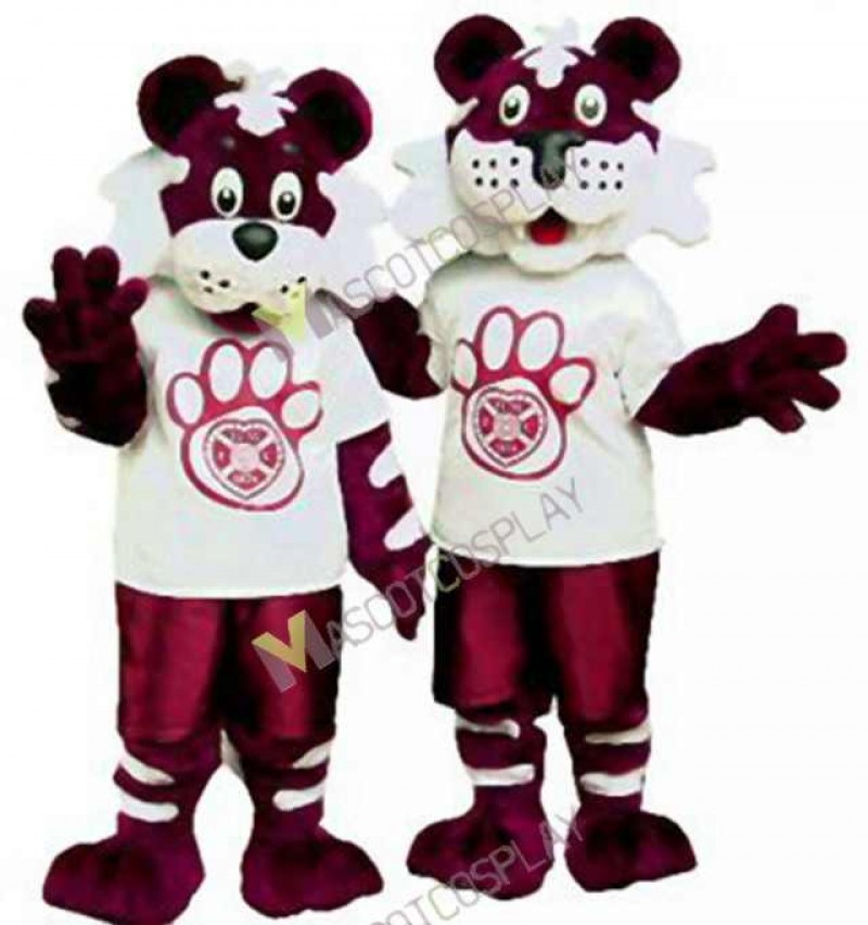 High Quality Adult One Dark Red Tiger Mascot Costume