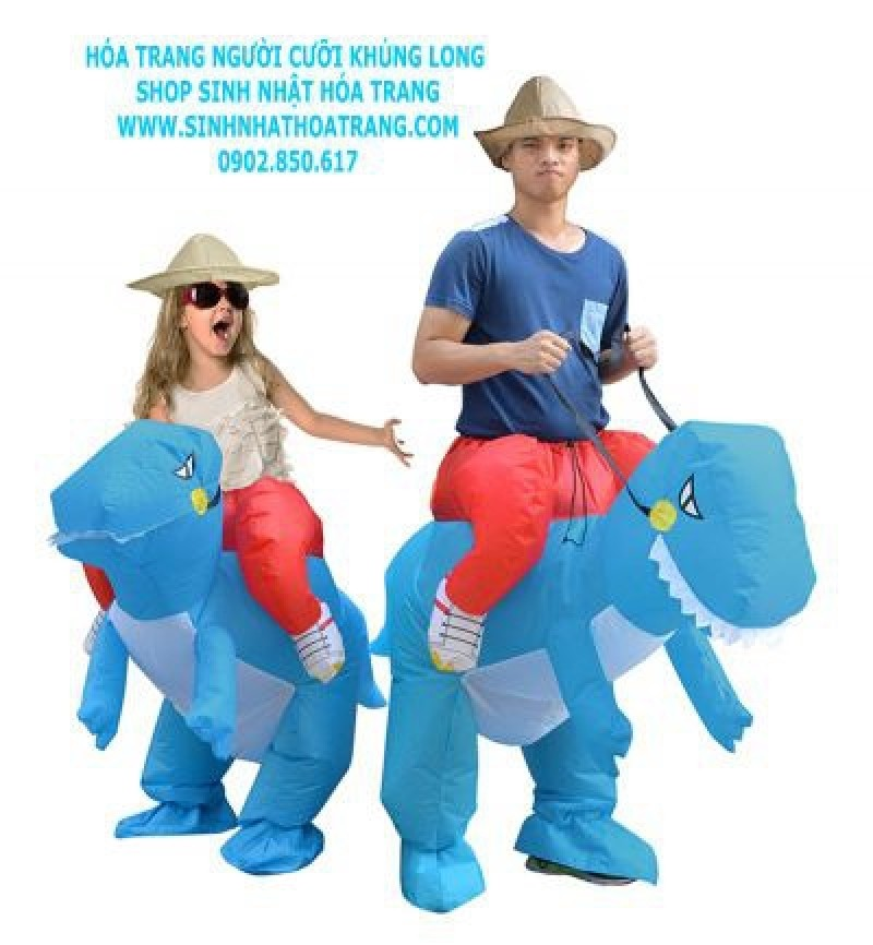 Adult/Kids Blue Inflatable Dinosaur Costume Dino Rider T-Rex Cosplay