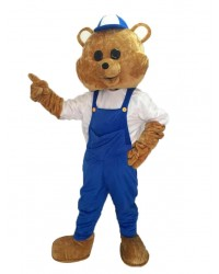 Teddy Bear Mascot Costume with Blue Overalls