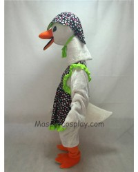 Cute White Mother Goose with Hat Mascot Costume