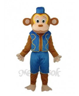 Clown Monkey in Blue Vest Mascot Adult Costume