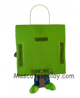 High Quality Realistic New All Green Shopping Bag Mascot Costume for Adults Holiday Special Clothing