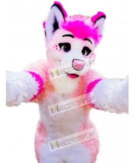 Pink Husky Dog Adult Mascot Costume Animal