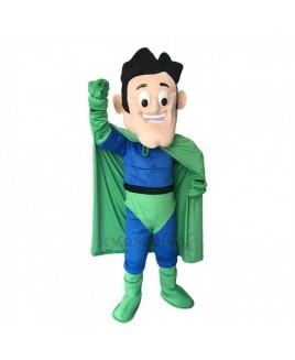 New Super Hero in Blue and Green Mascot Costume