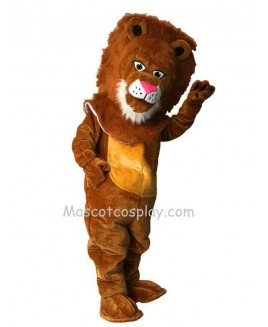 Cute Tan Wally Lion Mascot Costume