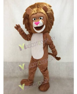 High Quality Realistic New Lion with Long Mane and White Belly Mascot Costume