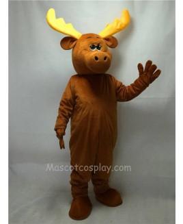 Cute Brown Moony Moose Mascot Costume
