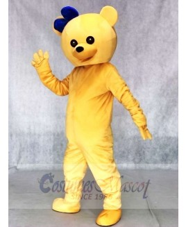Bear with Blue Bowknot on the Head Mascot Costumes Animal