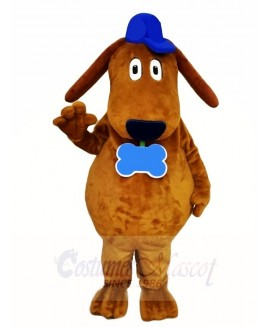Brown Dog Mascot Costumes with Blue Hat Animal