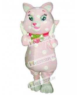 Pink Kitty Cat with White Spots Mascot Costume