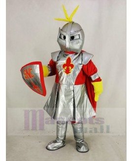 Silver Knight with Red Cloak Mascot Costume People