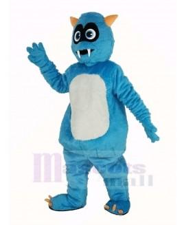 Fluffy Blue Monster Mascot Costume Cartoon
