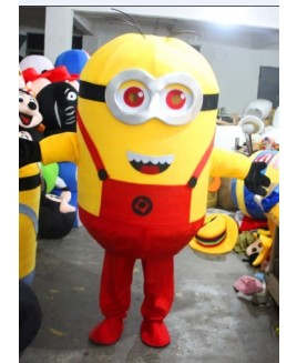 Despicable Me Minions Mascot Costume With Red Suspenders Fancy Costume Anime Cosplay